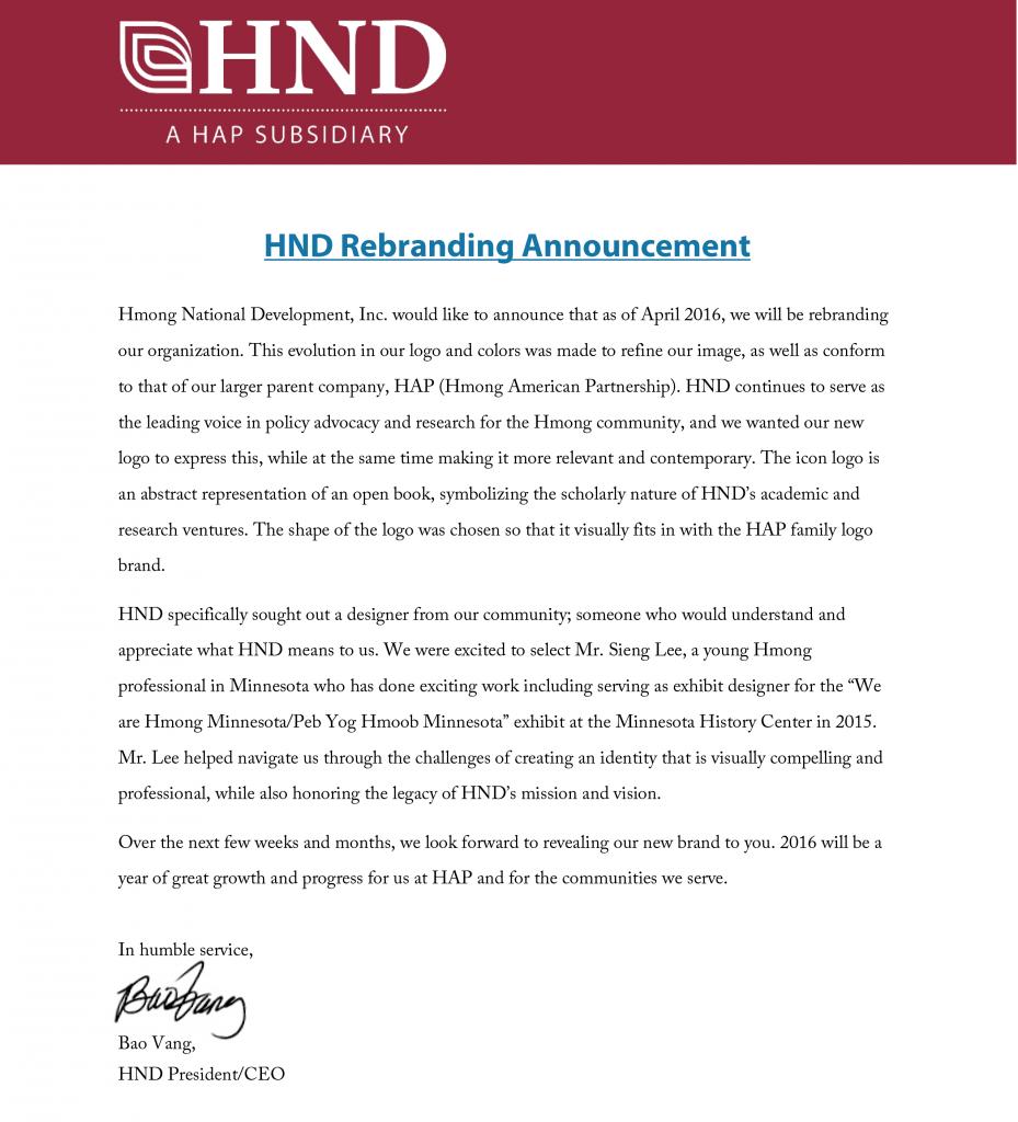 HND Rebranding Announcement - PNG